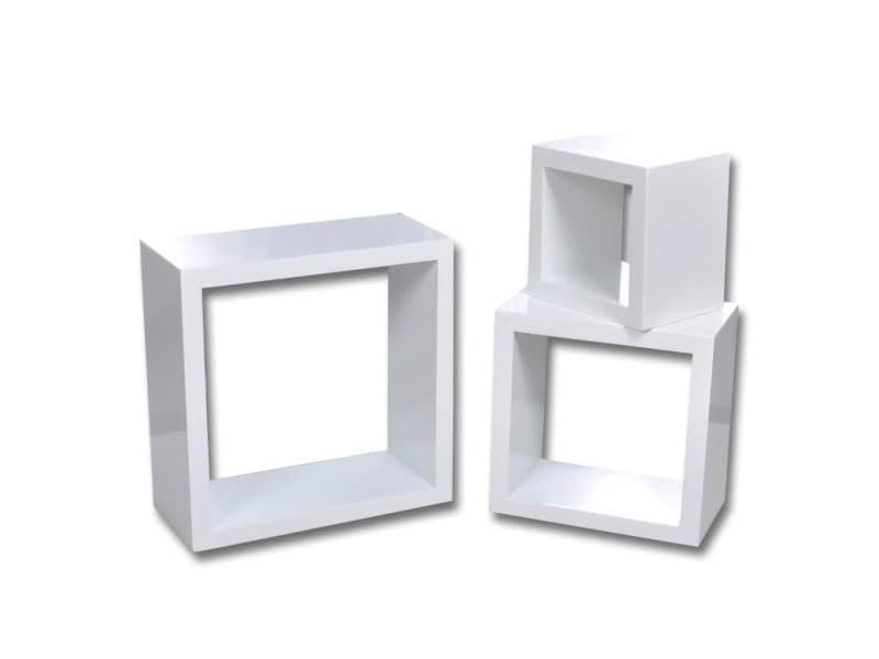 Vidaxl etagères design murale 3 cubes blanc 240347