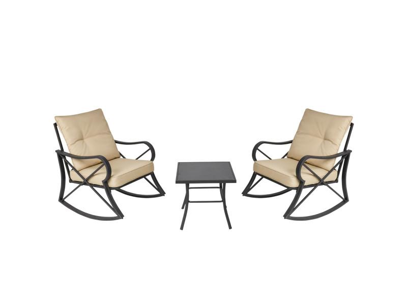 Ensemble de jardin 3 pièces 2 fauteuils à bascule table basse acier époxy noir coussins polyester beige