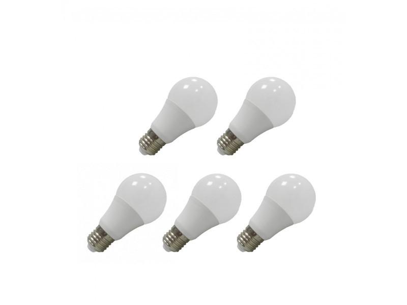 Pack 5x ampoule led e27 bulb opale blanc chaud 6w (55w) 3000°k