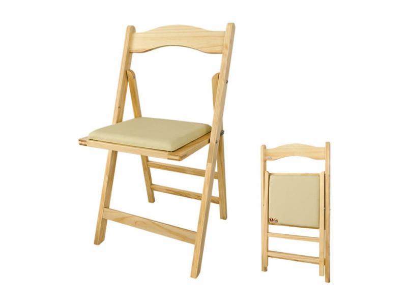 Chaise pliante avec assise rembourr e chaise pliable pour cuisine bureau salon en bois naturel - Chaise pliante salon ...