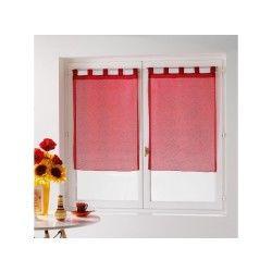 Une paire de rideau voilage 60 x 90 cm coupe dandy rouge