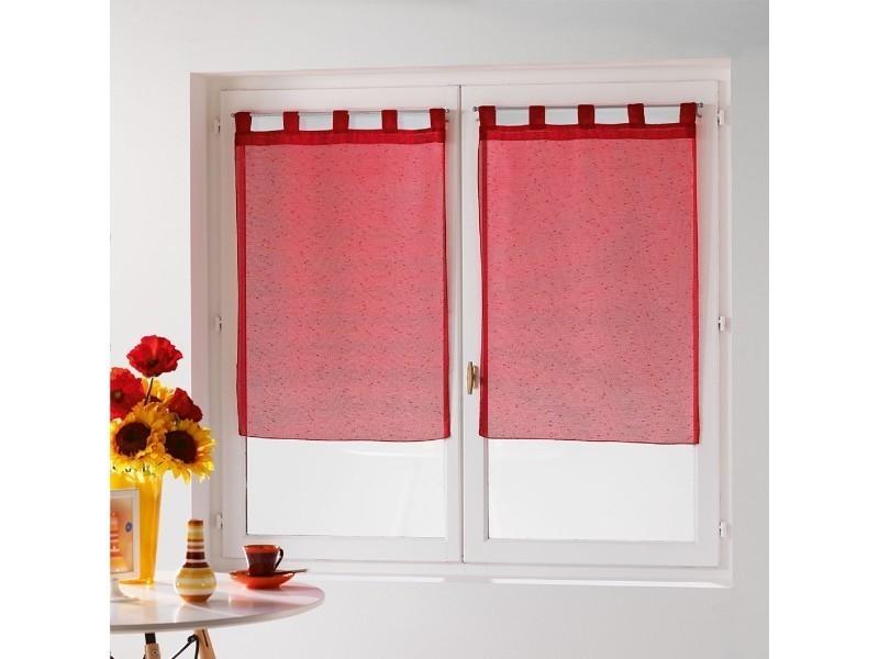 Une paire de rideau voilage 60 x 90 cm coupe dandy rouge - Vente de ...