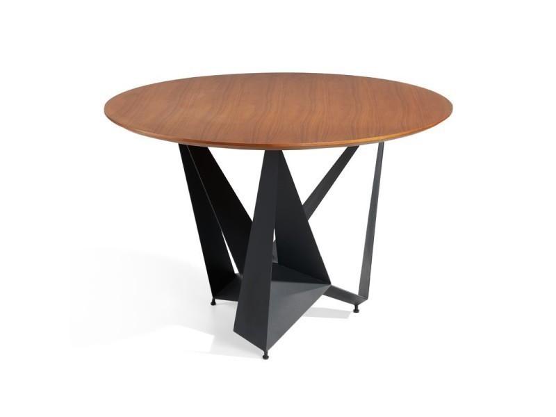 Table de repas ronde noyer/noir mat - nogu - l 120 x l 120 x h 76 - neuf