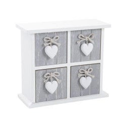 Chiffonnier en bois avec 4 tiroirs, laqué blanc, 24 x 10 x 21,5 cm -pegane-