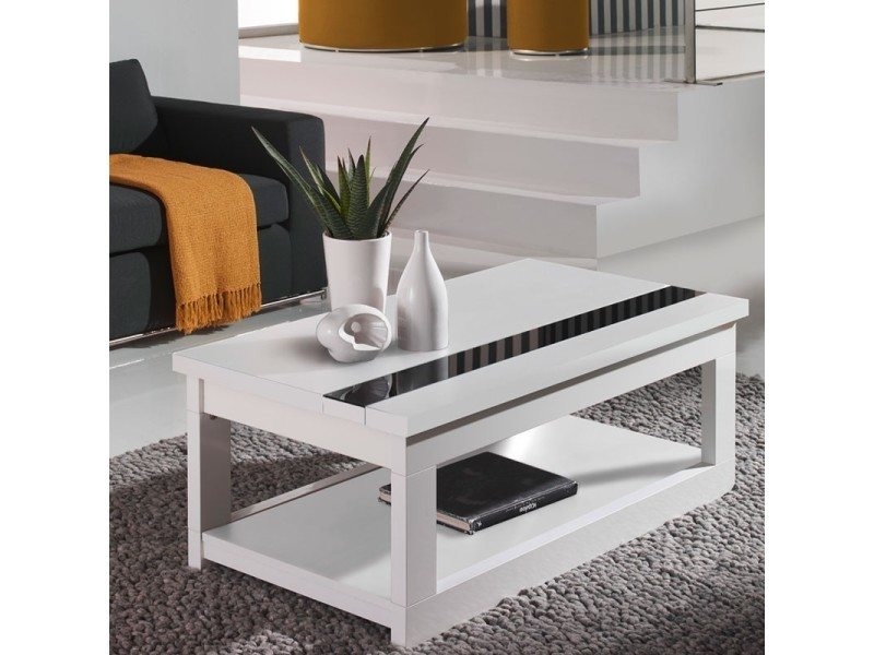 Table basse relevable blanche upti l 110 x l 60 x h 44 - Table basse conforama blanche ...