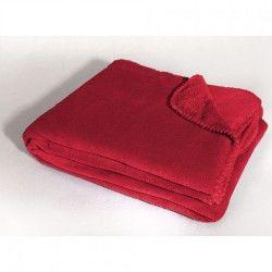 Couverture plaid jete de fauteuil polyester 125 x 150 cm louna rouge