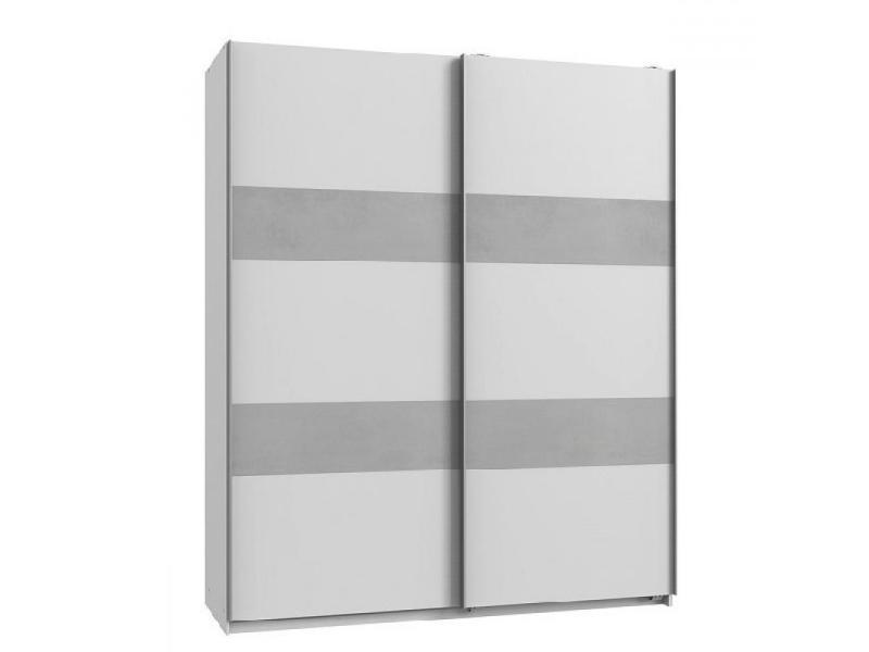 Armoire de rangement aude portes coulissantes 135 cm blanc rechampis béton gris clair 20100890988