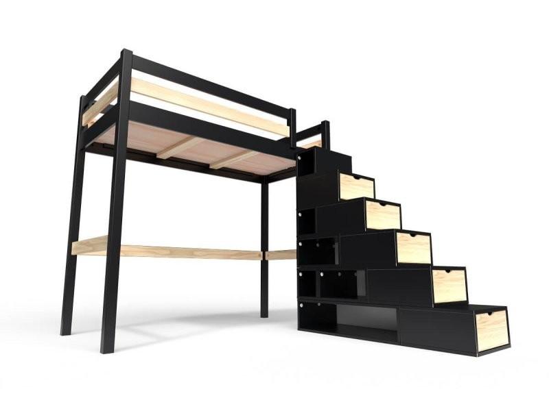 Lit mezzanine sylvia avec escalier cube bois 90x200 noir/vernis naturel CUBE90-NV