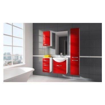 Meuble de salle de bain koral rouge 55cm colonne avec - Meuble colonne salle de bain conforama ...
