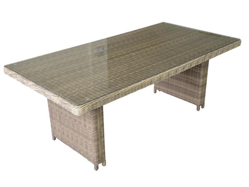 Table de jardin rectangulaire 180x100cm en résine tressée beige ...