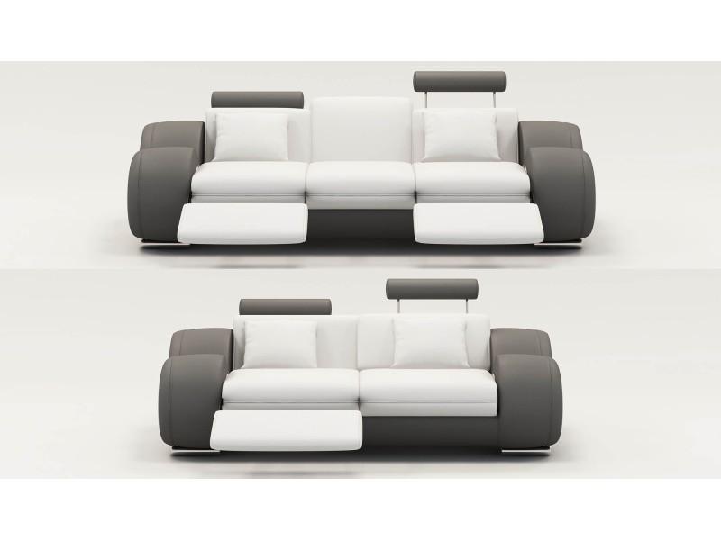 Ensemble cuir relax oslo 3+2 places design blanc et gris-