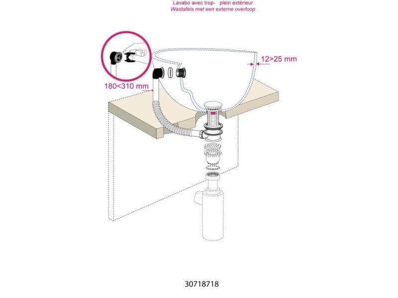 Piece detachee sanitaire plomberie intercalaire extensible de trop-plein - lavabo - grille longue