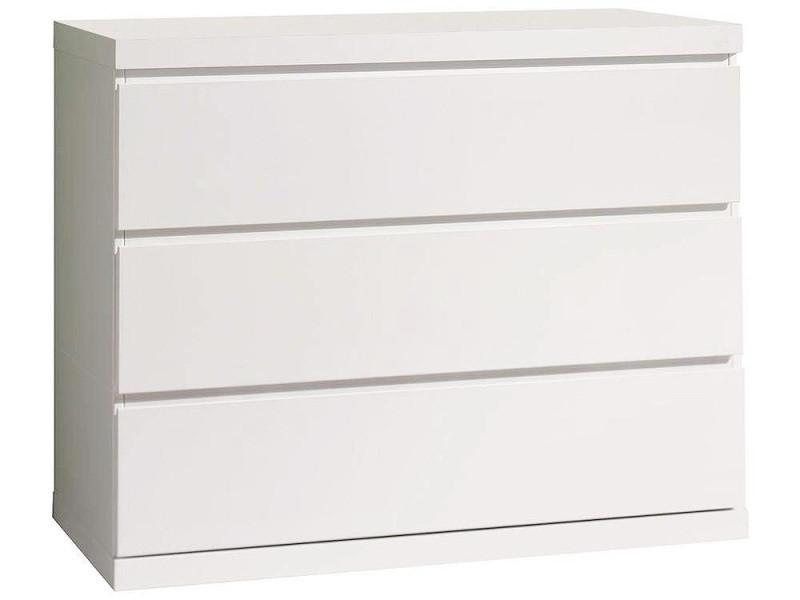 Vipack lara commode 3 tiroirs laqué blanc LAKO2314