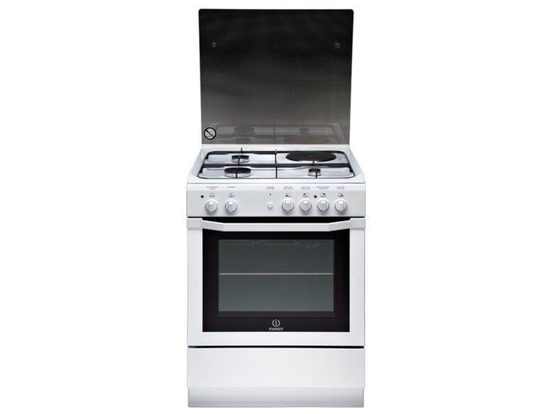 Cuisinière mixte blanc 60x60cm four catalyse 59l multifonction ultra résistant