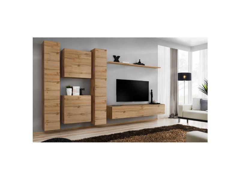 Ensemble mural - switch vi - 2 vitrines verticales - 1 vitrine carrée - 1 banc tv - 1 étagère - bois