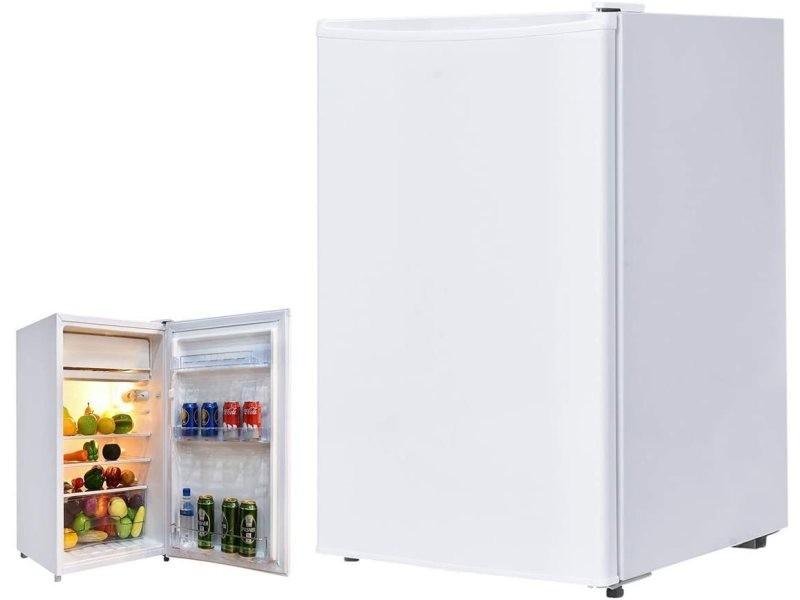 Giantex mini frigo 123l frigo combiné silencieux 90w/230v mini-réfrigérateur température -3 ℃ ~ 10 ℃, portable pour chambre