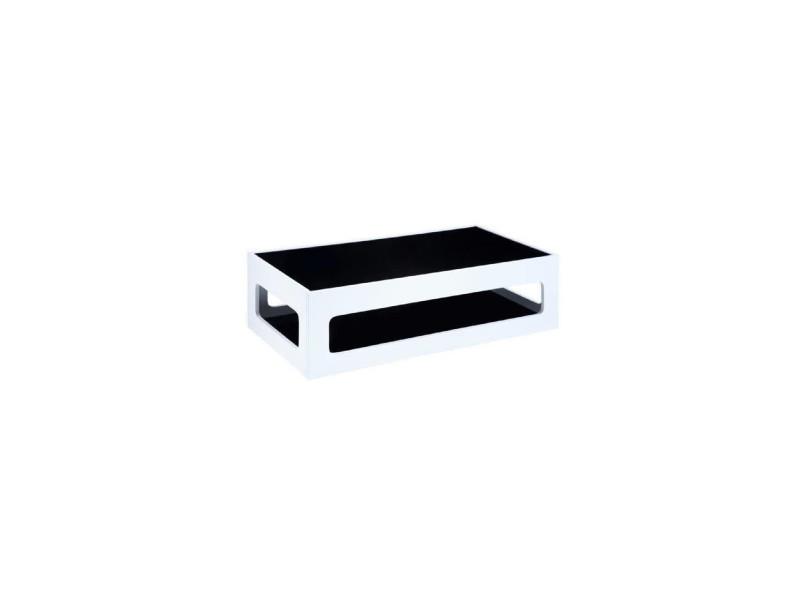 Angel table basse rectangulaire style contemporain laquee blanc brillant avec plateaux en verre trempe noir - l 120 x l 60 cm