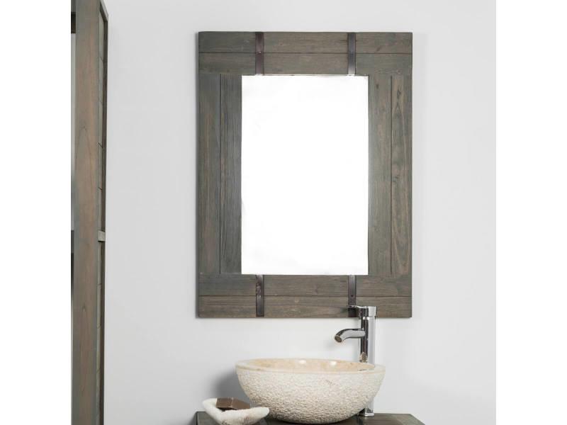 Miroir de salle de bain loft 60x80 gris 31057g vente de miroir mural conforama for Miroir 60x80