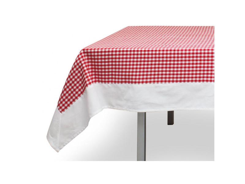 Nappe carrée en coton anti-tâches 180x180 cm vichy rouge, jacquard