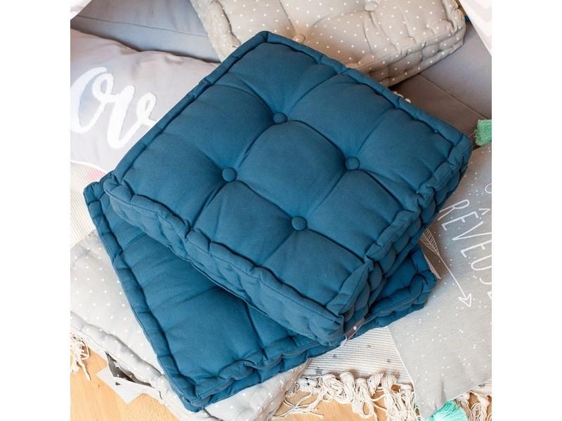 Coussin de sol bleu canard 40x40x8cm vente de les douces nuits de mae conforama - Canape en coussin de sol ...