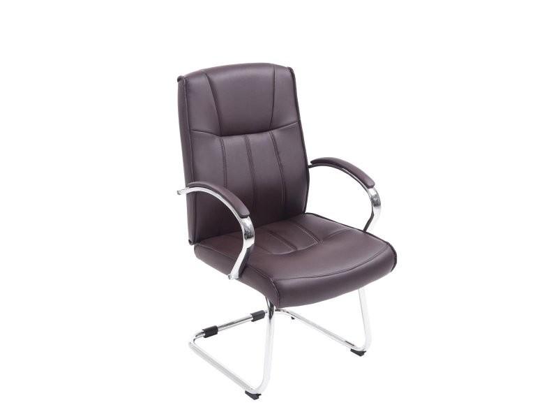 Fauteuil chaise de bureau sans roulette en simili cuir marron