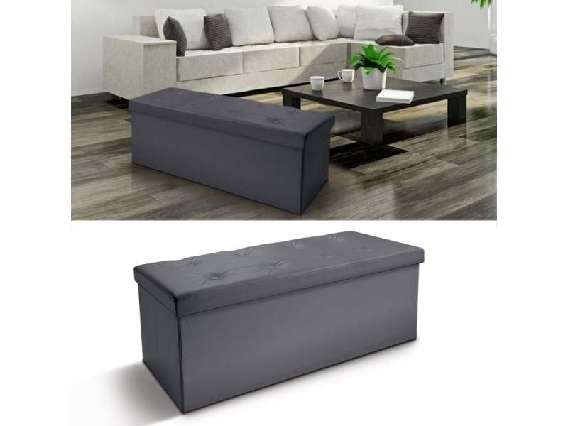 banc coffre rangement pvc gris 76x38x38 cm pliable vente. Black Bedroom Furniture Sets. Home Design Ideas