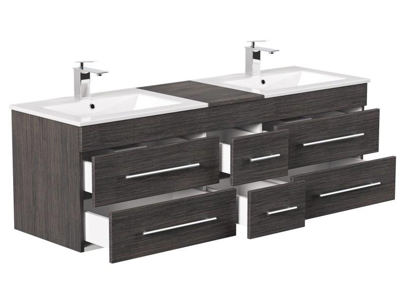 Meuble salle de bain double vasque roma xl charbon antique - Meuble vasque salle de bain conforama ...