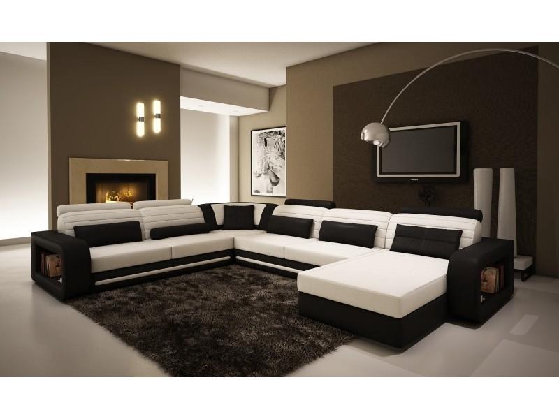 Canapé d'angle cuir new york blanc et noir (angle droite)-