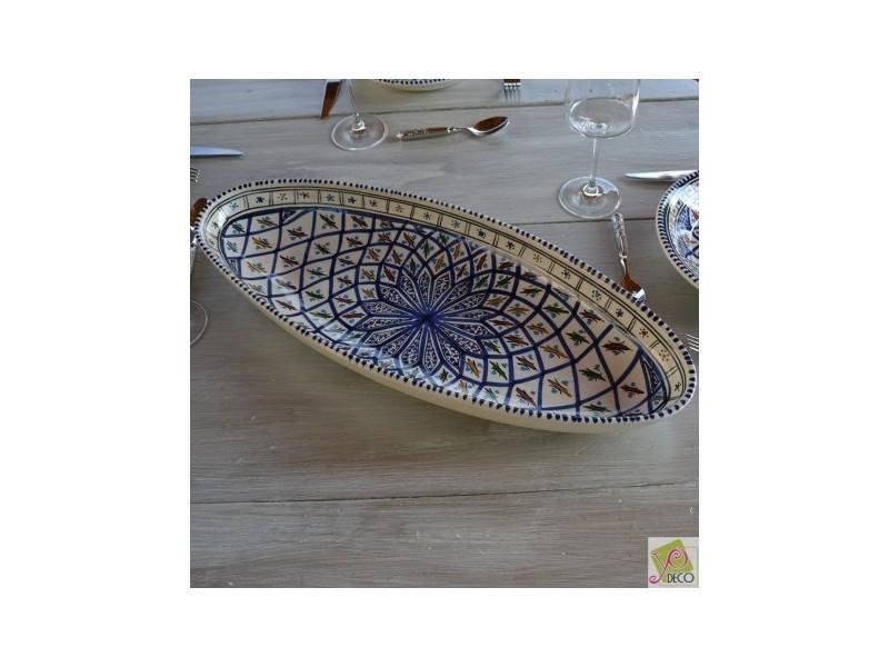 Plat ovale bakir bleu - l 30 cm