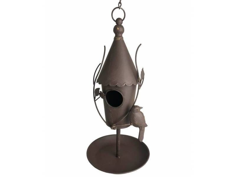 Nichoir à oiseaux à poser ou maisonnette à suspendre motifs oiseaux en fer patiné marron 21x21x43cm