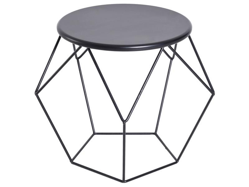 Table basse ronde design industriel néo-rétro dim. 51l x 51l x 44h cm plateau ø 40 cm acier noir