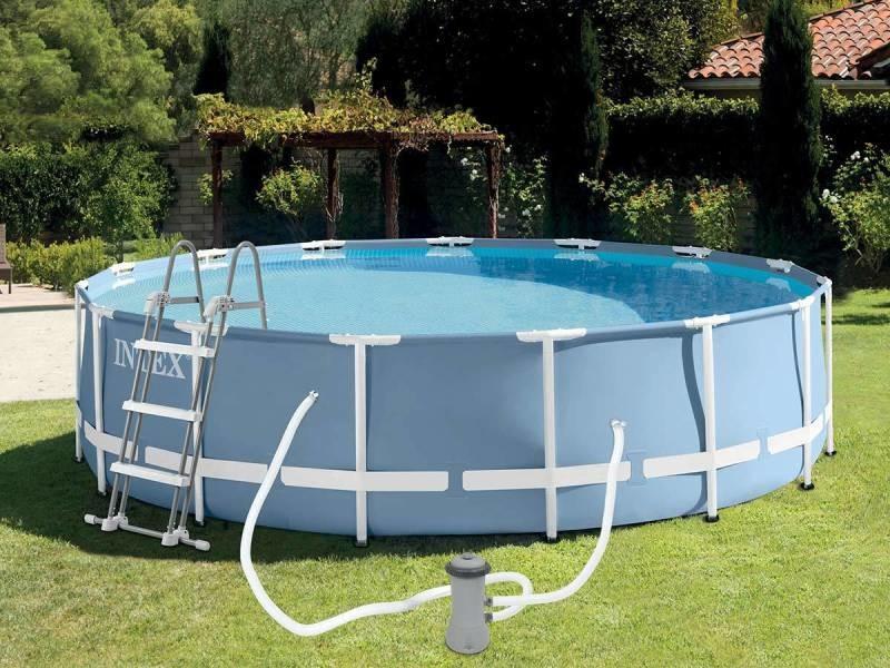 piscine tubulaire prism frame ronde 4 57 x 1 07 m intex. Black Bedroom Furniture Sets. Home Design Ideas