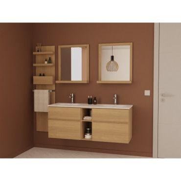 Ensemble salle de bain ch ne 140 cm meuble vasque 2 - Meuble vasque salle de bain conforama ...
