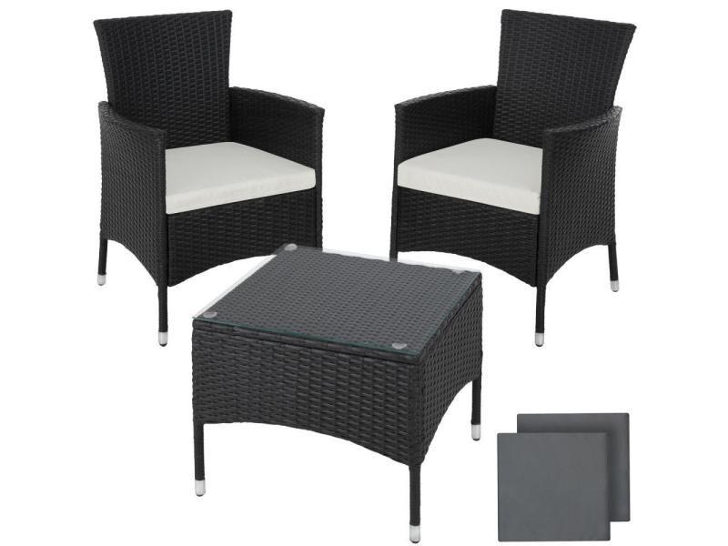 Salon de jardin rotin résine tressé synthétique 2 places avec 2 sets de housses noir helloshop26 2108068