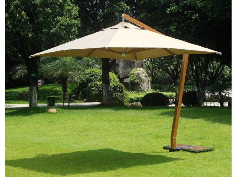 Parasol déporté carrée 3,5 x 3.5 m en bois et polyester 360 gr, coloris sable -pegane-
