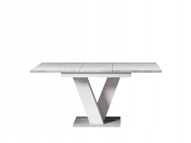 Table a manger extensible massi - beton et blanc 120-160 cm