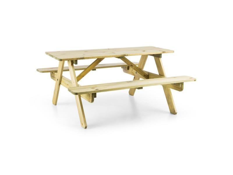 Blumfeldt table de pique-nique de jardin pour enfants - bancs intégrés - bois de pin poncé