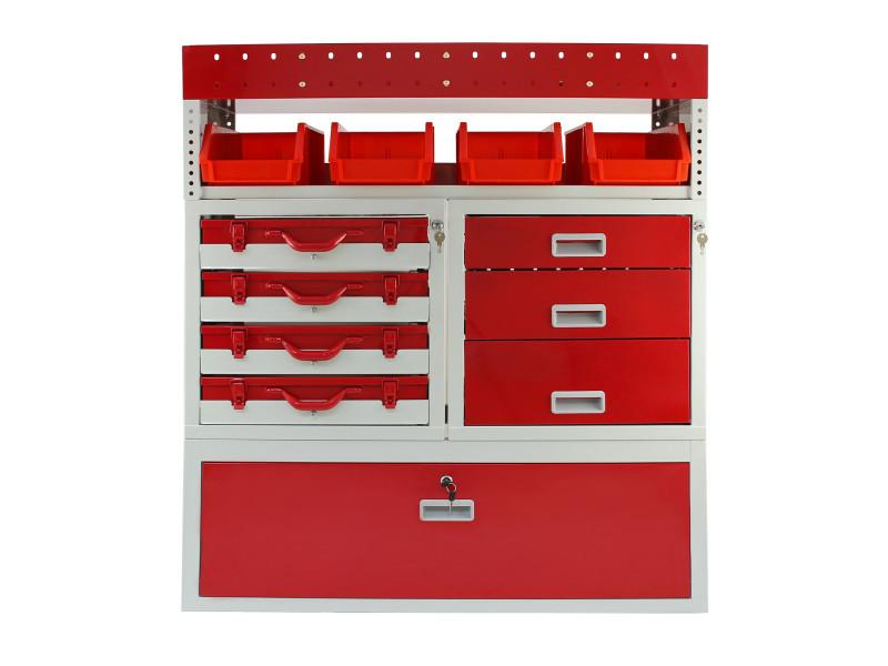 Rayonnage métallique firecracker couleur rouge & gris pour fourgons