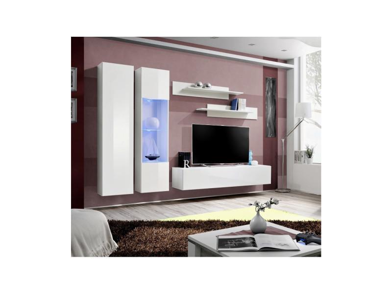 Ensemble meuble tv mural - fly v - 260 cm x 190 cm x 40 cm - blanc