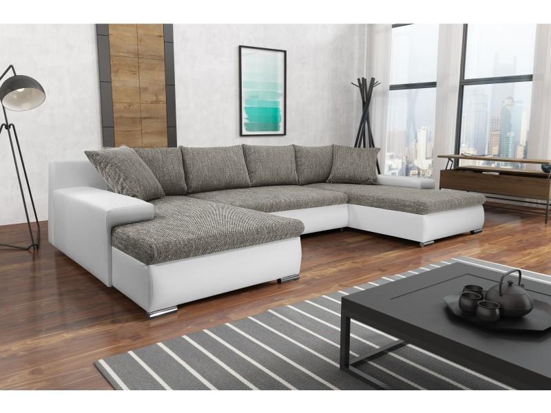 Canapé panoramique convertible korse gris blanc
