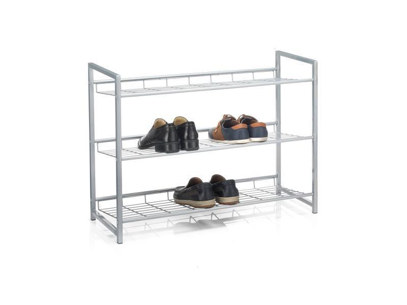 Etagère à chaussures system 3 tablettes rangement pour 12 paires en métal laqué argenté