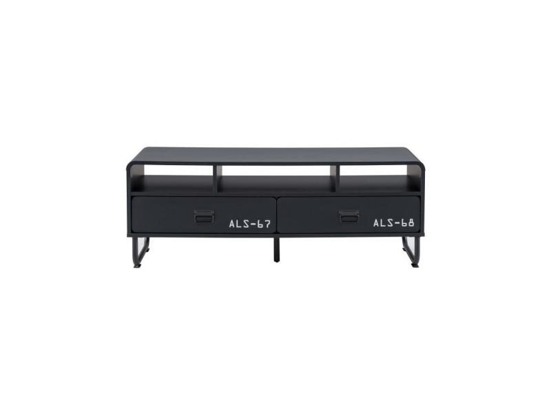Meuble tv 120 cm en bois noir - orlando