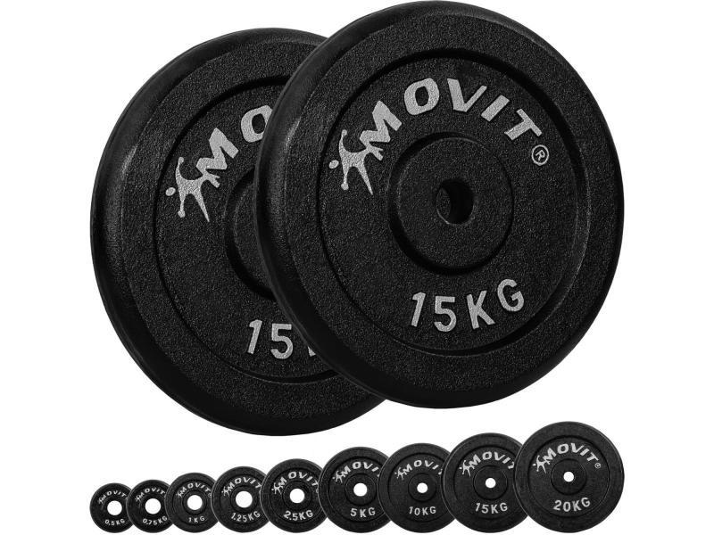 Movit® lot de 2 disques en fonte de 15 kg - 30 kg - noir