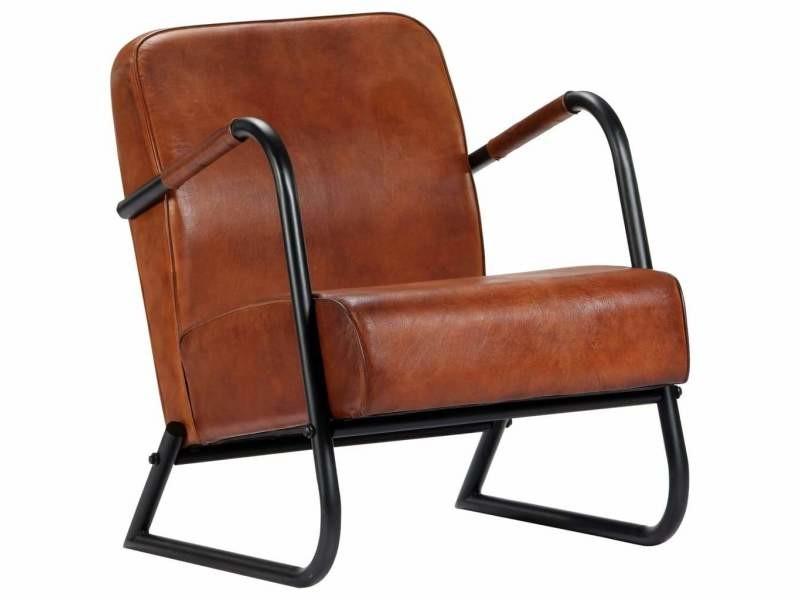 Fauteuil chaise siège lounge design club sofa salon de repos marron cuir véritable helloshop26 1102295