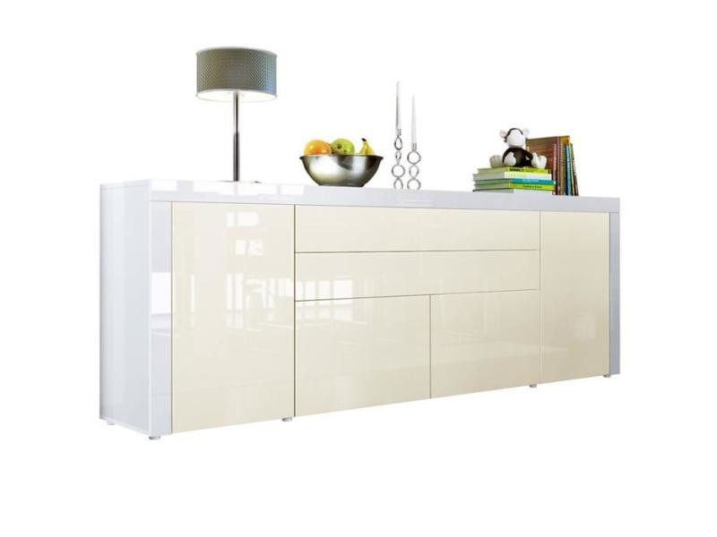Buffet crème / blanc haute brillance 200 cm