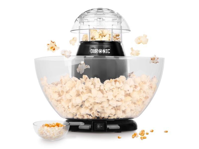 Duronic pop50 appareil à popcorn – capacité de 50 gr avec bol démontable - cuisson électrique à air chaud de mais soufflé sans huile - faible en calories