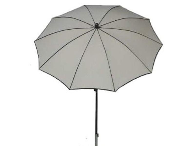 Parasol rond, tissu dralon coloris écru - dim : 140/10 - d 280 cm - pegane -