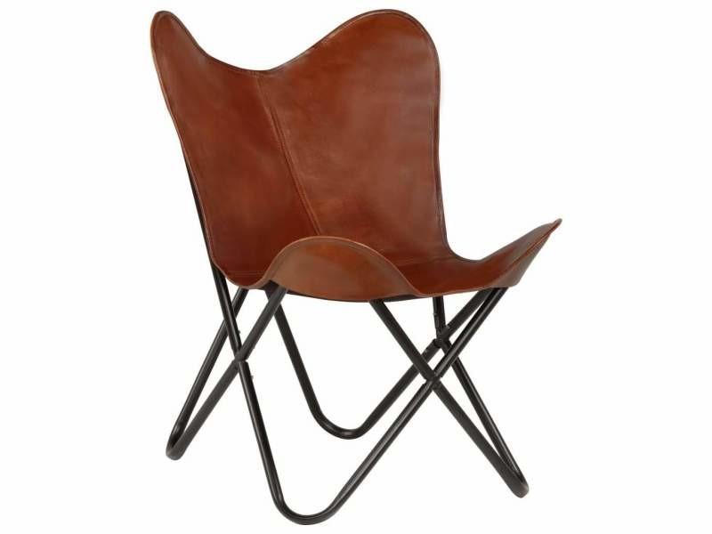 Fauteuil chaise siège lounge design club sofa salon forme de papillon cuir véritable marron taille d'enfant helloshop26 1102142/3