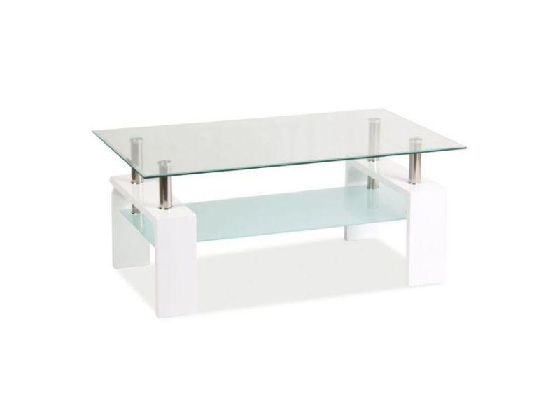 Liste - table basse minimaliste - 55x100x60 cm - plateau rectangualaire en verre - avec tablette - table à café - blanc