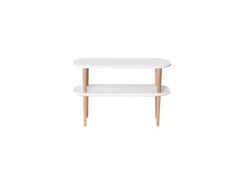 Finlandek meuble tv inkeri scandinave en mdf blanc laqué mat + pieds bois massif - l 80 cm
